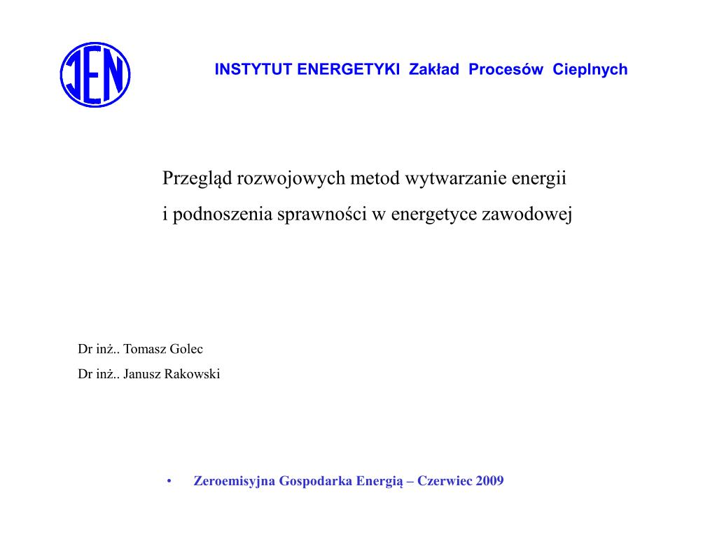 instytut energetyki zak ad proces w cieplnych l.