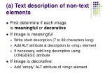 a text description of non text elements