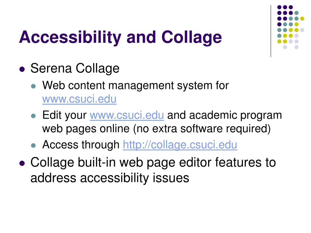 Accessibility and Collage