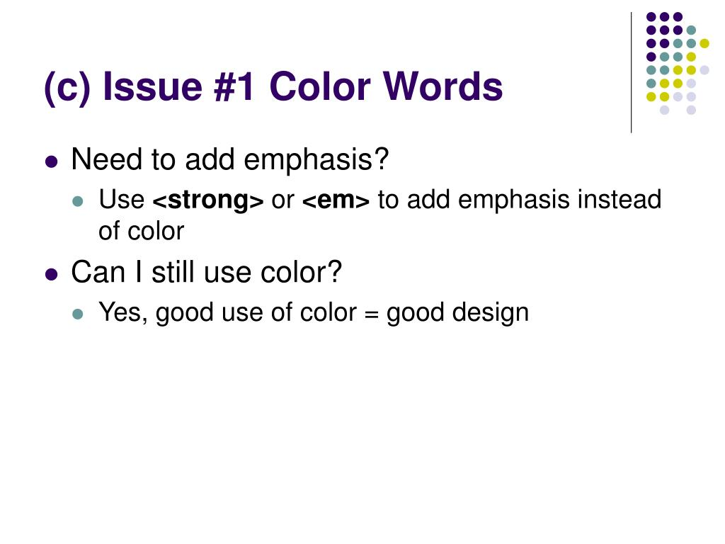 (c) Issue #1 Color Words