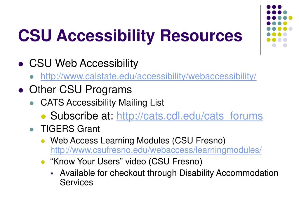 CSU Accessibility Resources
