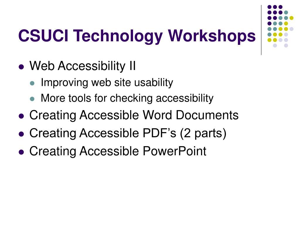CSUCI Technology Workshops