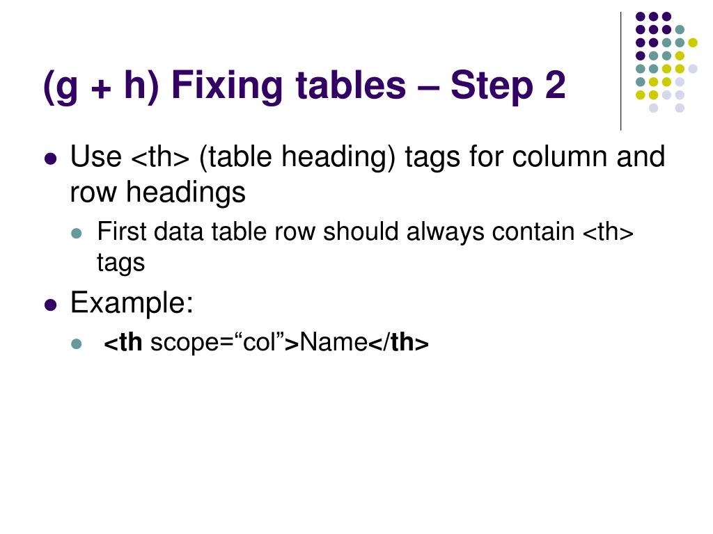 (g + h) Fixing tables – Step 2
