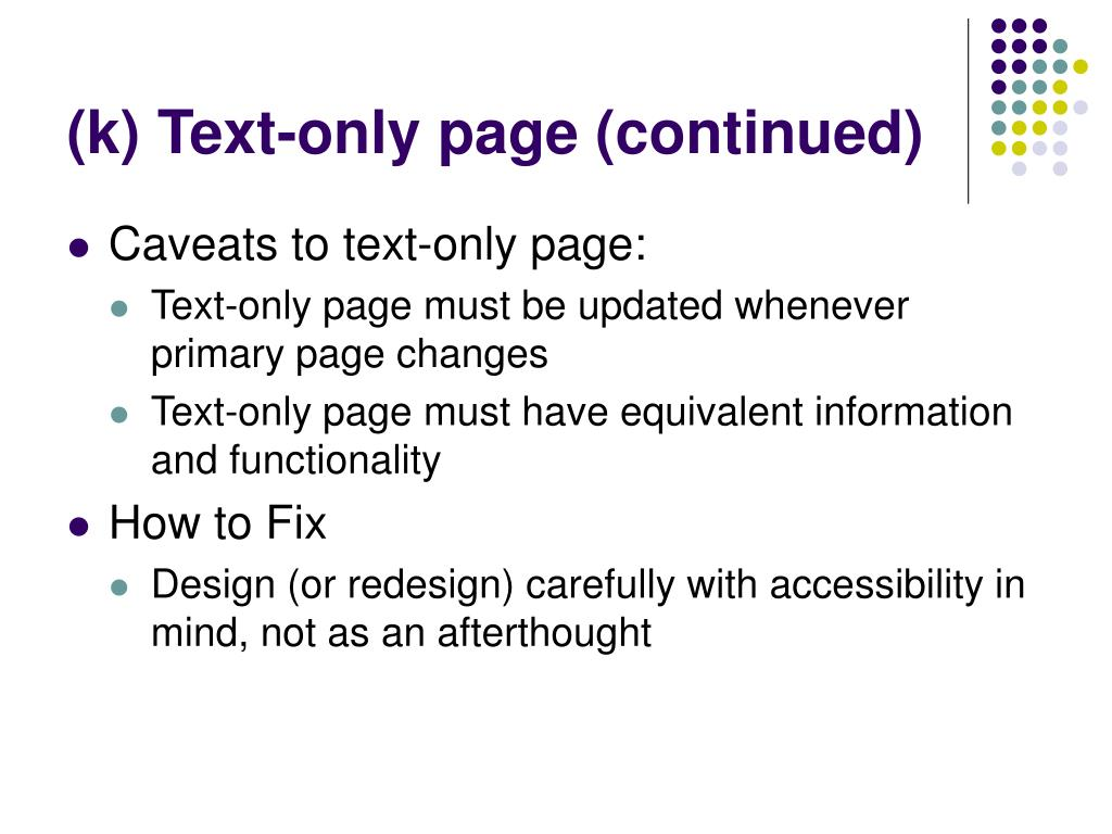 (k) Text-only page (continued)