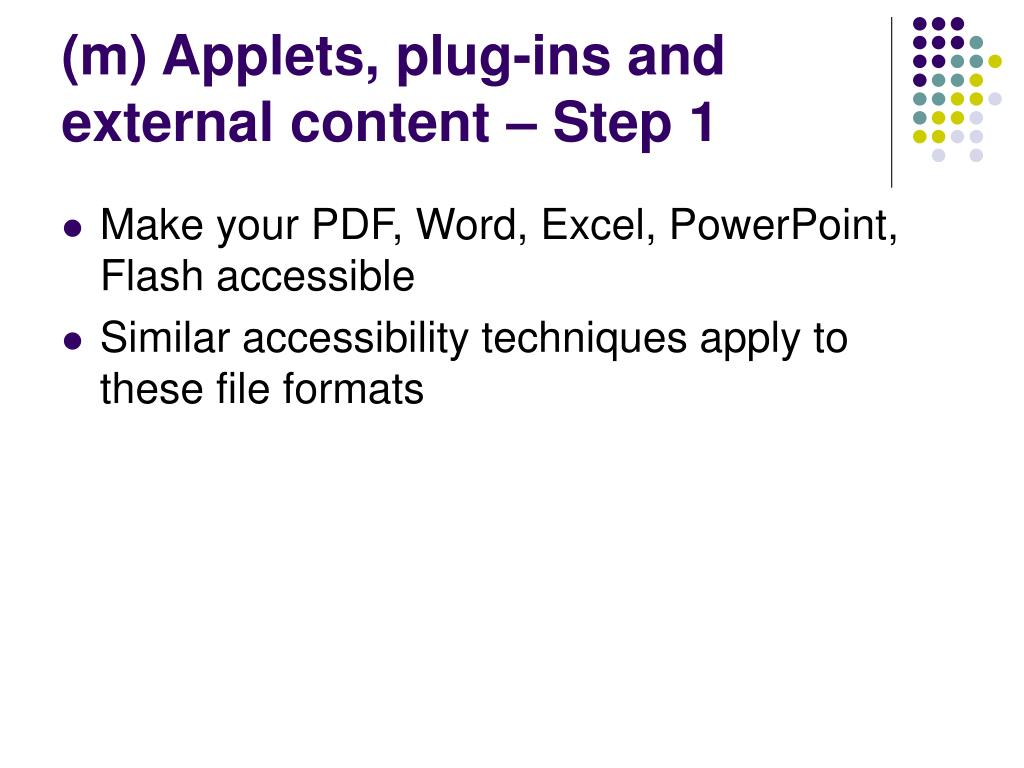 (m) Applets, plug-ins and external content – Step 1