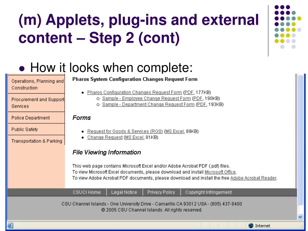 (m) Applets, plug-ins and external content – Step 2 (cont)