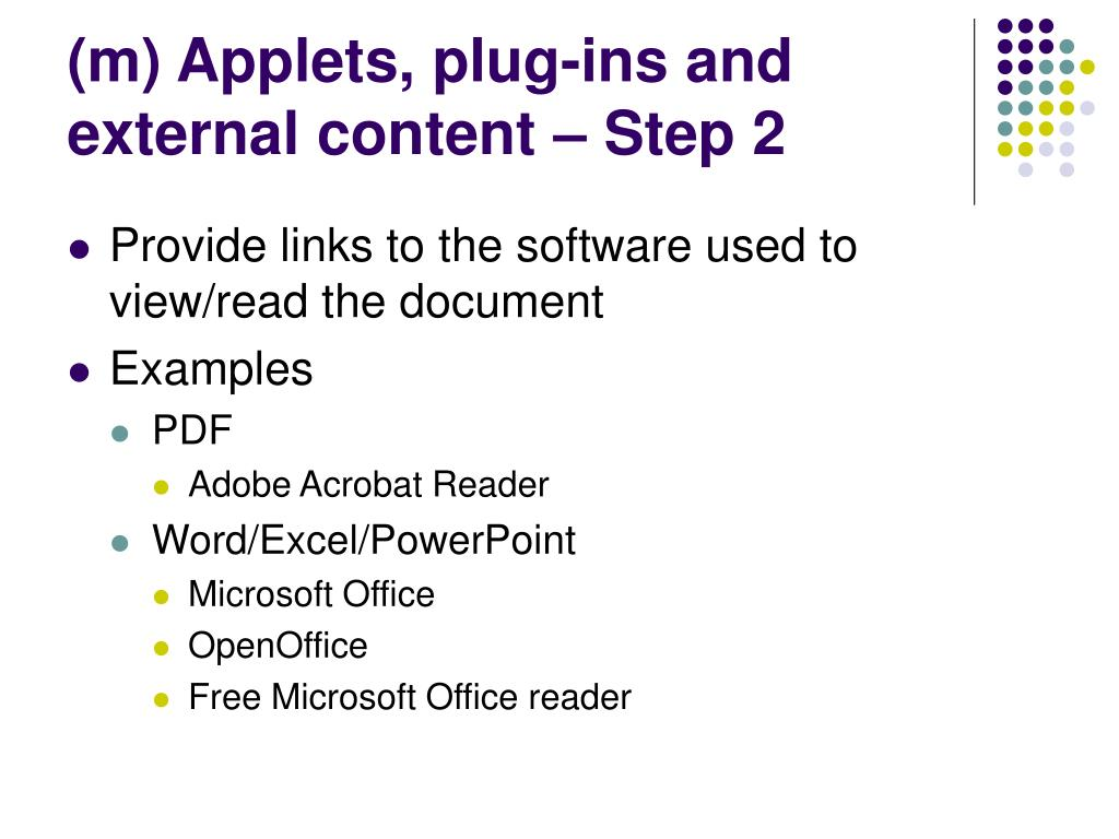 (m) Applets, plug-ins and external content – Step 2