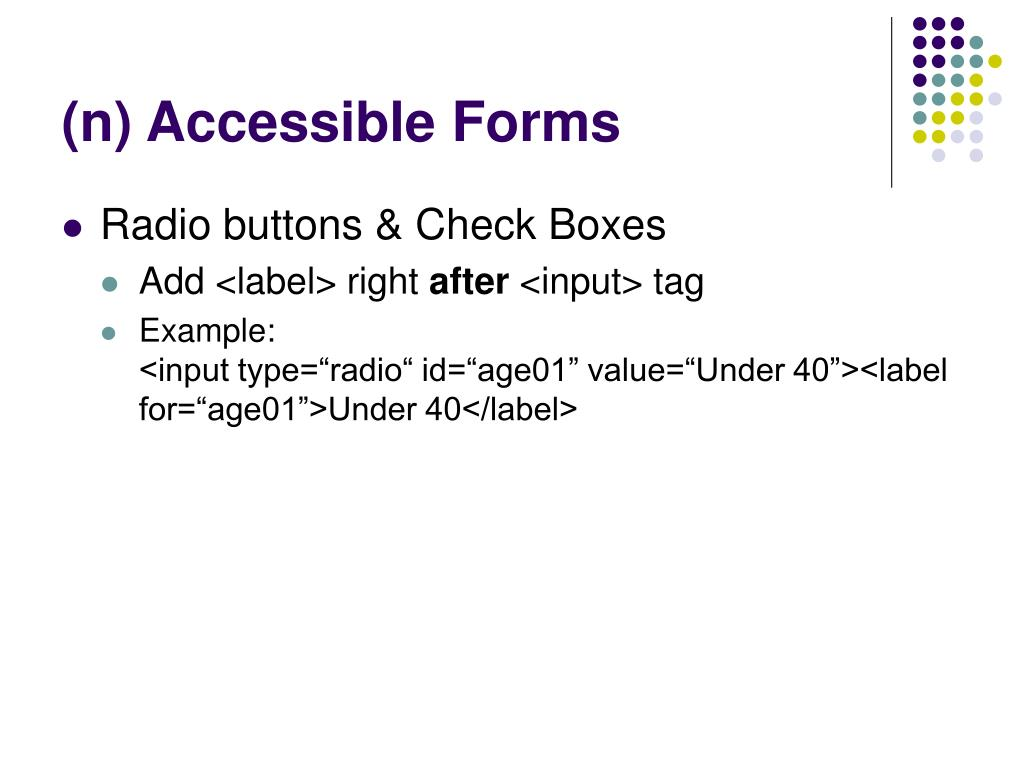 (n) Accessible Forms