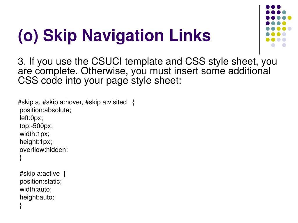 (o) Skip Navigation Links