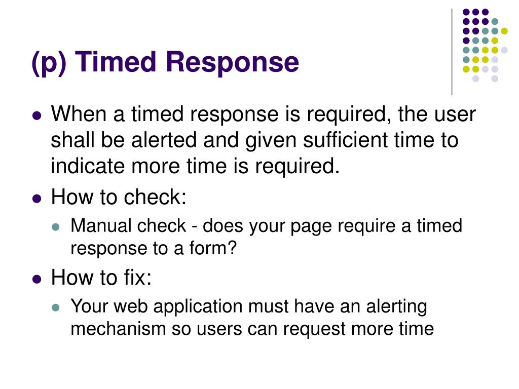 (p) Timed Response