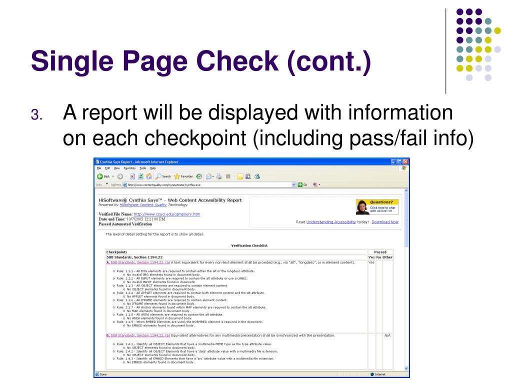 Single Page Check (cont.)