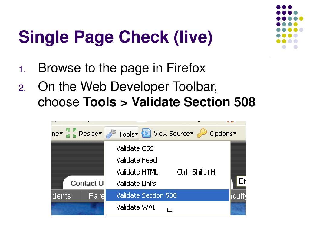 Single Page Check (live)