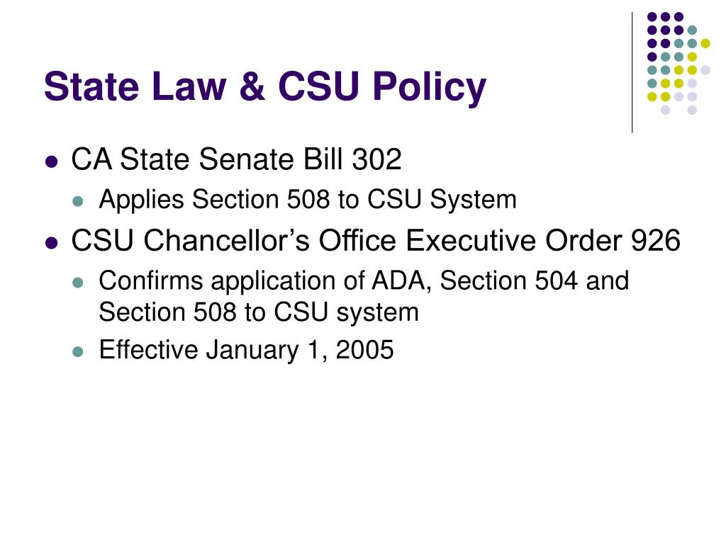 State Law & CSU Policy