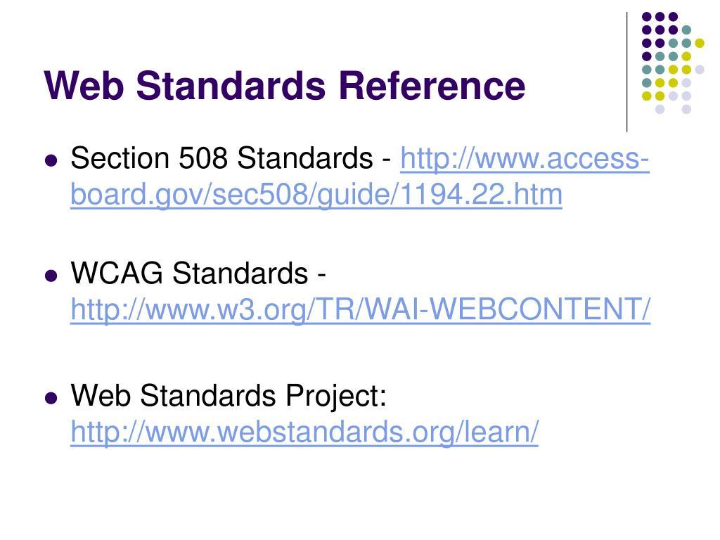 Web Standards Reference