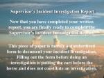 supervisor s incident investigation report