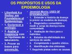 os prop sitos e usos da epidemiologia