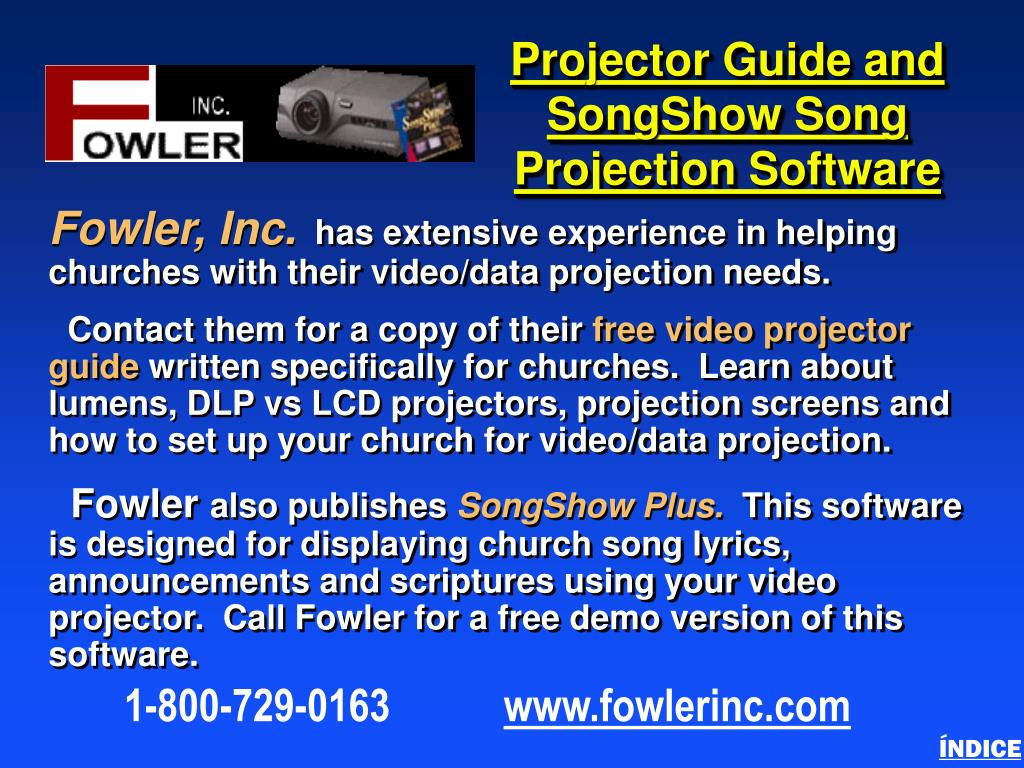 Projector Guide and SongShow Song Projection Software
