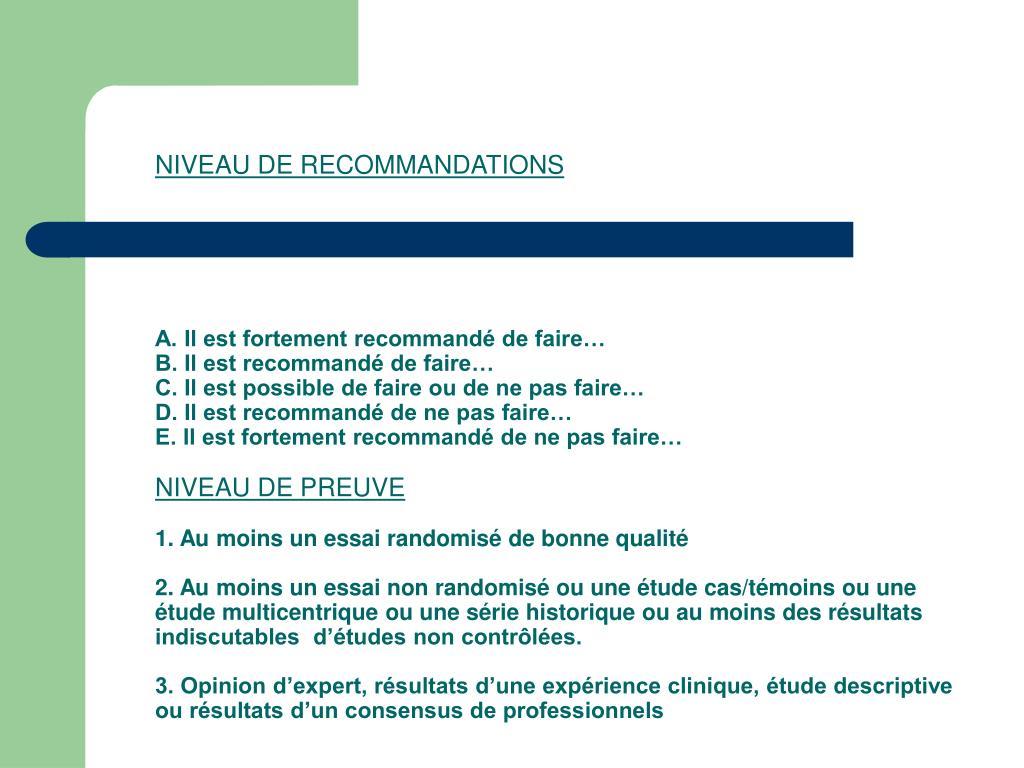 NIVEAU DE RECOMMANDATIONS