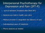 interpersonal psychotherapy for depression and pain ipt p