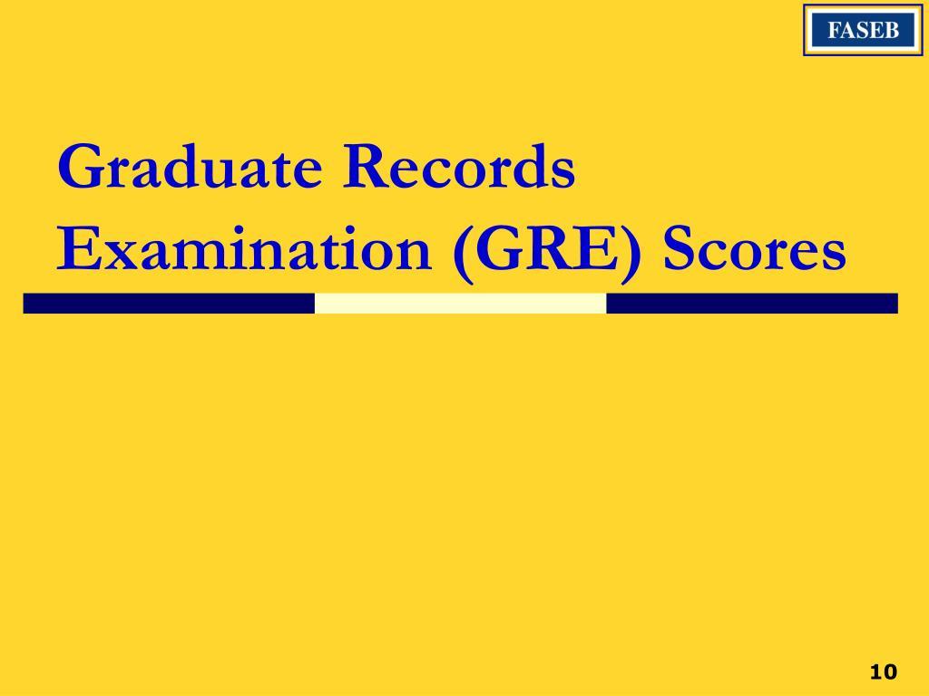 Graduate Records Examination (GRE) Scores