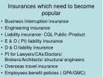 insurances which need to become popular