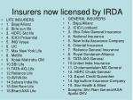 insurers now licensed by irda