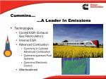 cummins a leader in emissions