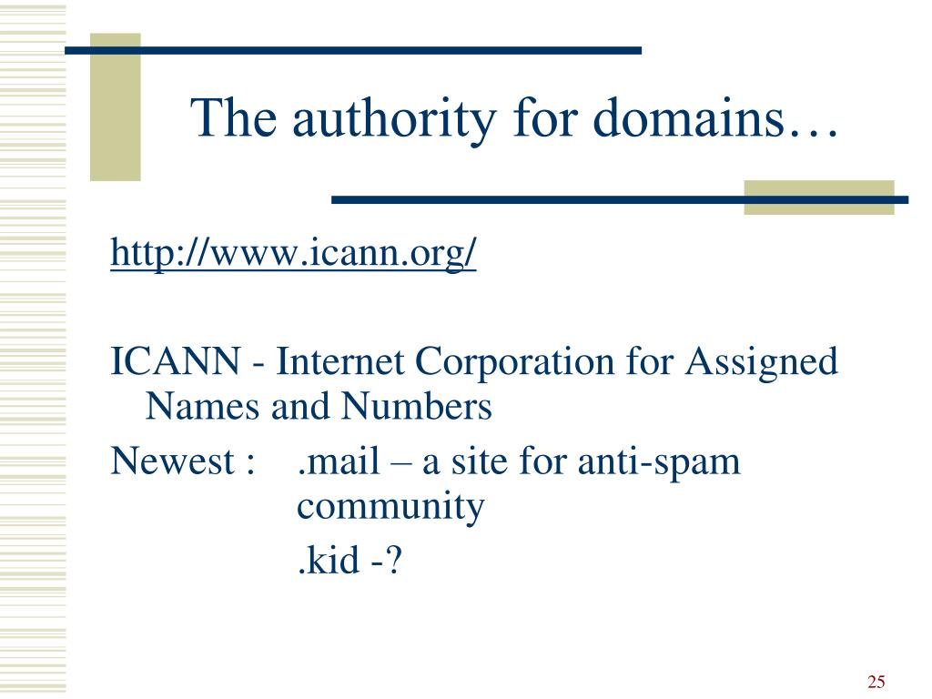 The authority for domains…