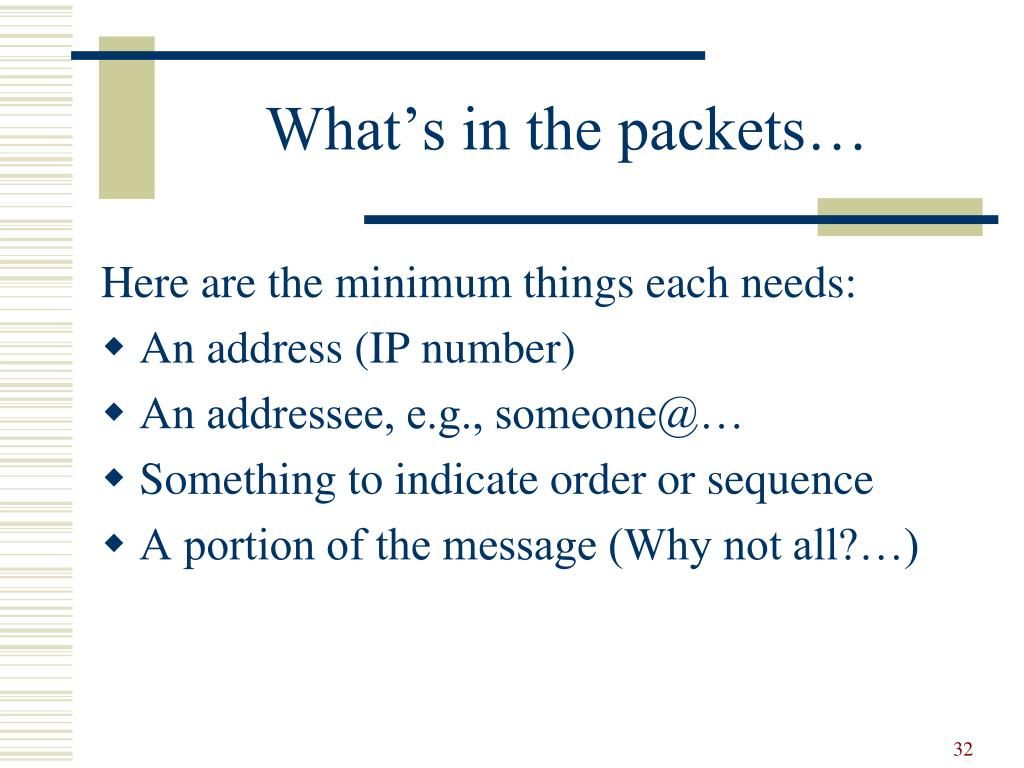 What's in the packets…