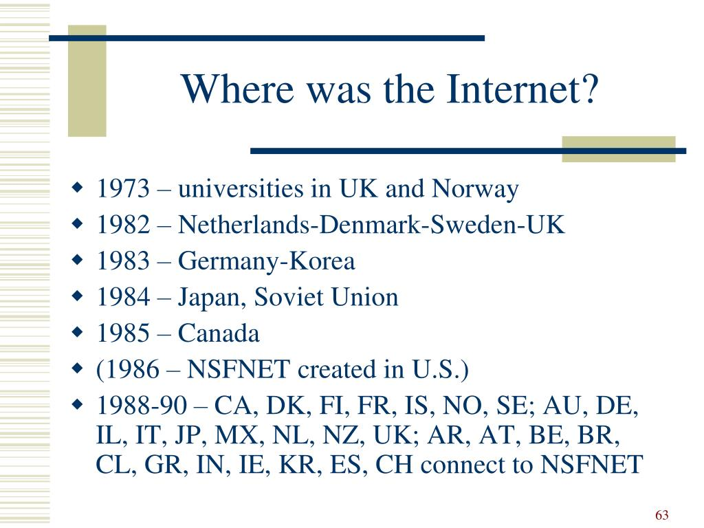 Where was the Internet?