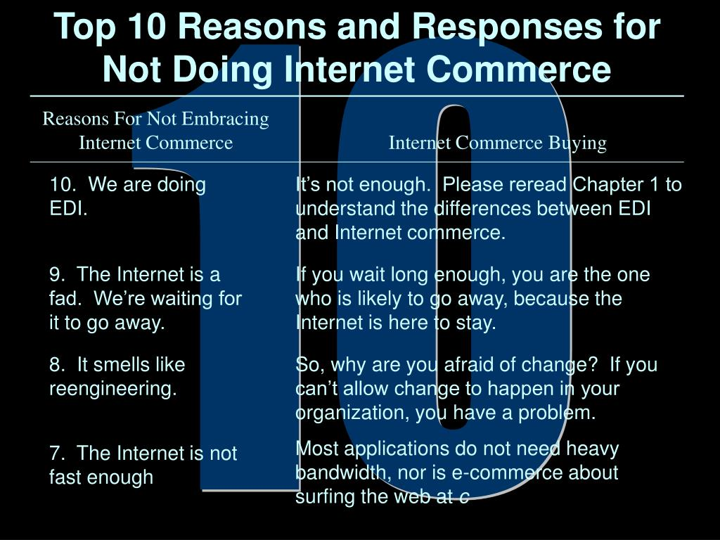 Top 10 Reasons and Responses for Not Doing Internet Commerce