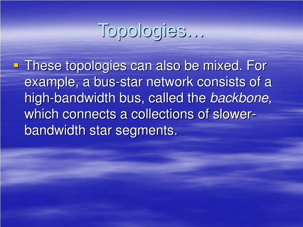 Topologies…