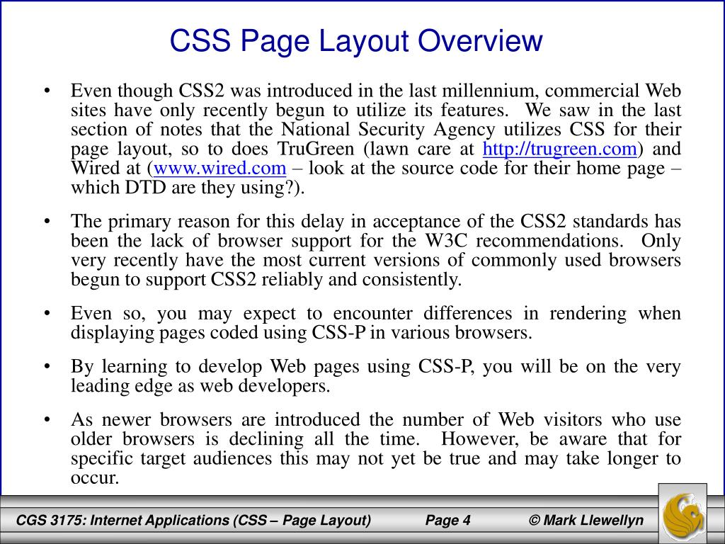 CSS Page Layout Overview