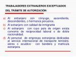 trabajadores extranjeros exceptuados del tr mite de autorizaci n