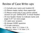 review of case write ups