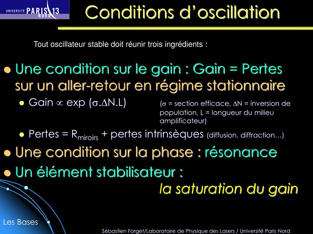 conditions d oscillation l.