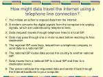 how might data travel the internet using a telephone line connection