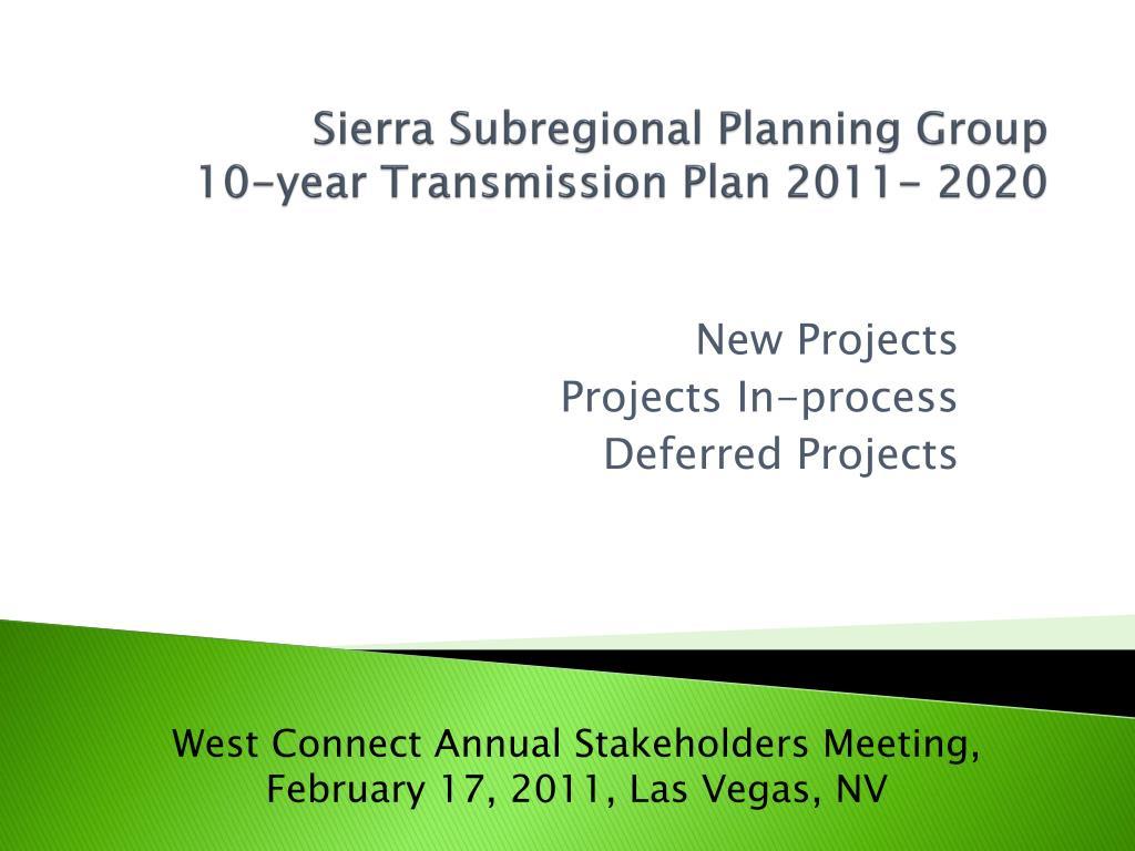 sierra subregional planning group 10 year transmission plan 2011 2020 l.