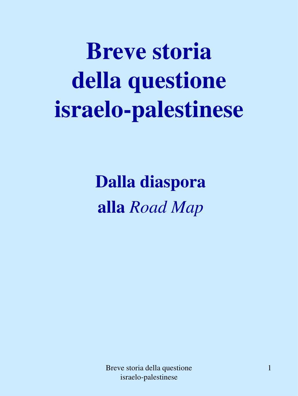 breve storia della questione israelo palestinese l.