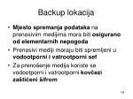 backup lokacija