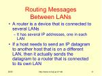 routing messages between lans
