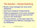 the solution packet switching