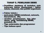 tahap 5 pemilihan dbms