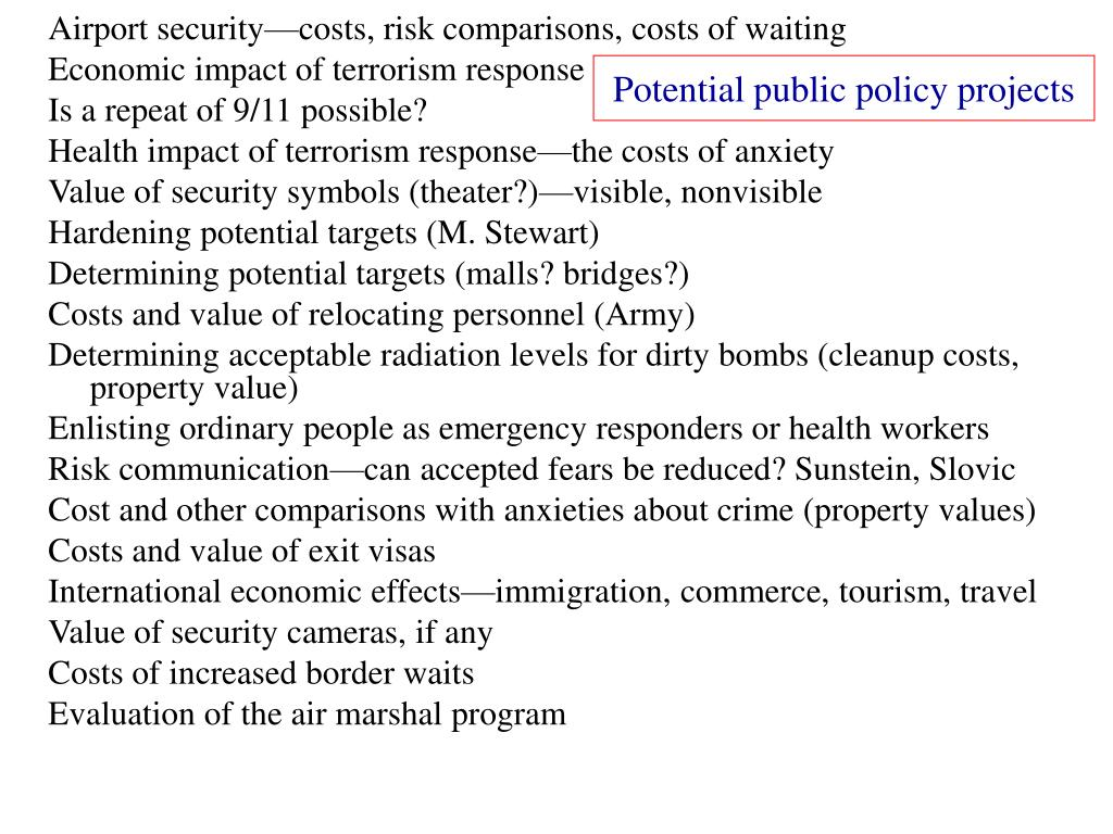 Potential public policy projects
