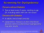 screening for dyslipidemia