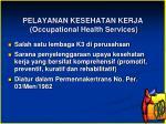 pelayanan kesehatan kerja occupational health services