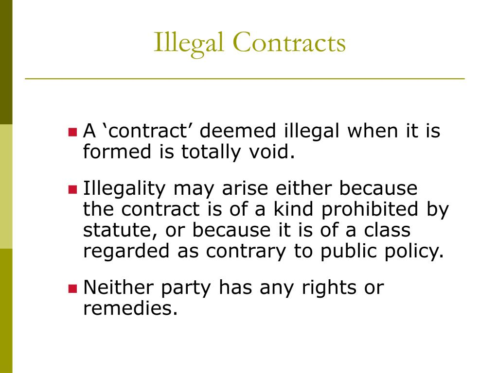 void and illegal contracts