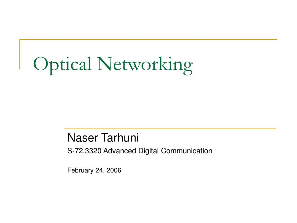 optical networking l.