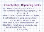 complication repeating roots