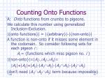 counting onto functions